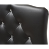 Rita Faux Leather Scalloped Twin Headboard - Button Tufted, Black - WI-BBT6503-BLACK-TWIN-HB