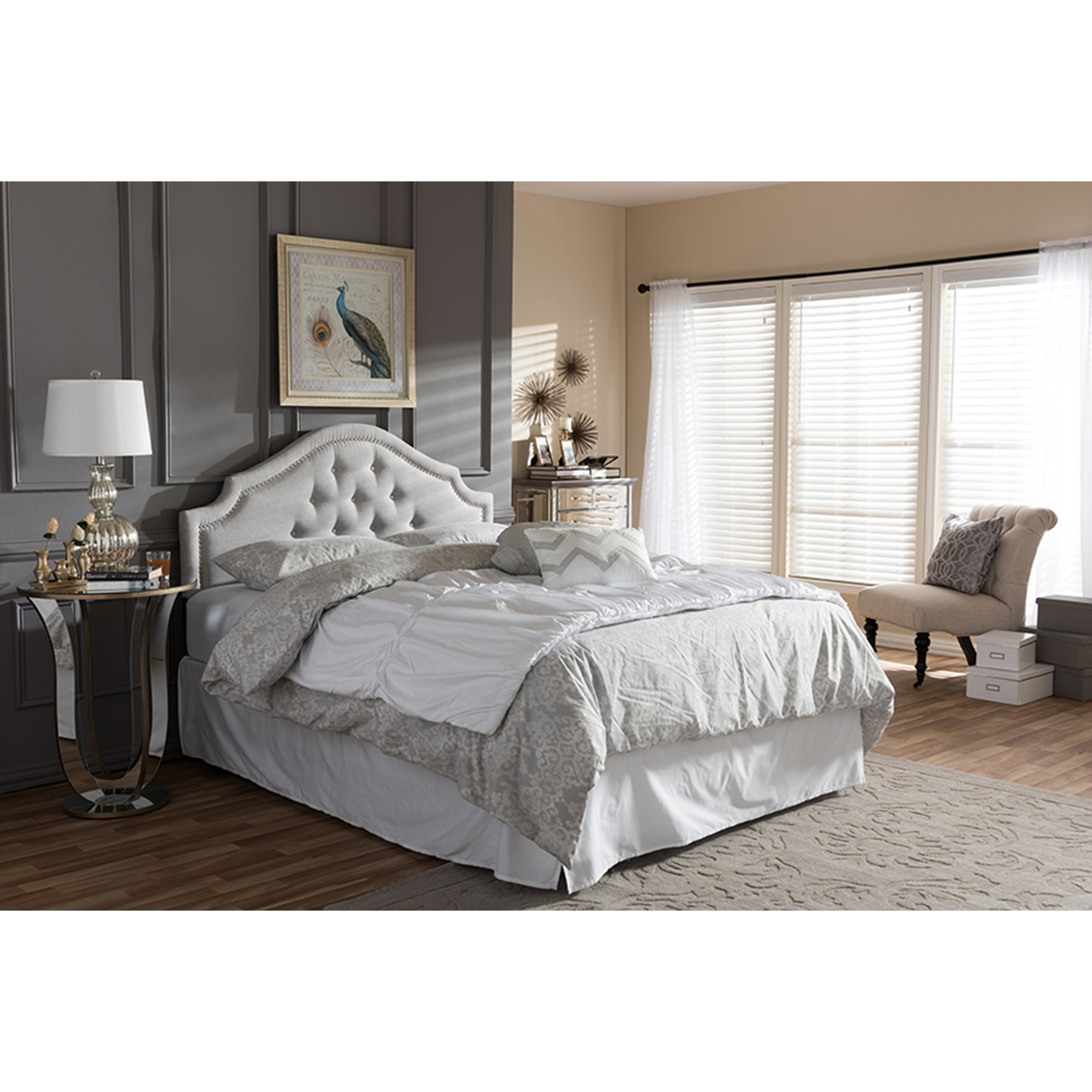 ... Cora Fabric Upholstered Headboard   Button Tufted, Nailhead    WI BBT6564 BED