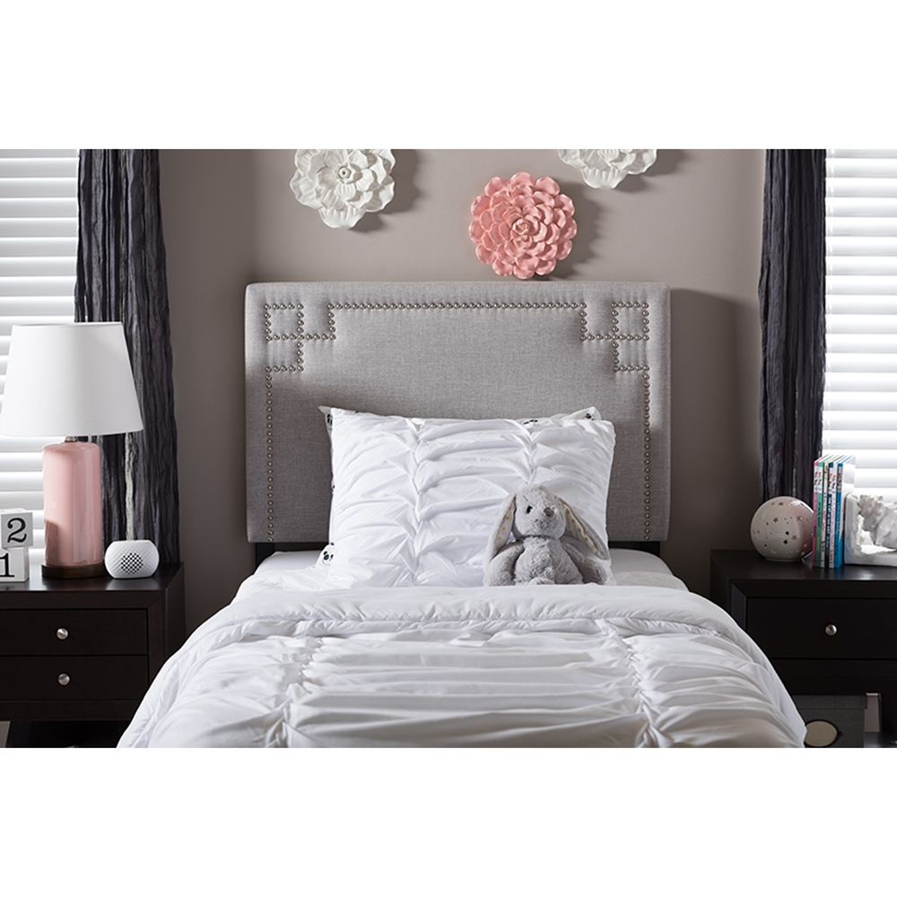 Geneva Fabric Upholstered Twin Headboard Grayish Beige