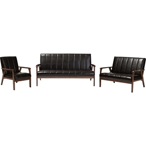 Nikko 3-Piece Living Room Set - Dark Brown