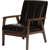 Nikko Faux Leather Lounge Chair - Dark Brown - WI-BBT8011A2-BROWN-CHAIR