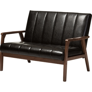 Nikko Faux Leather Loveseat - Dark Brown