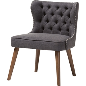 Scarlett Upholstered Nailhead Accent Chair - Button Tufted, Dark Gray