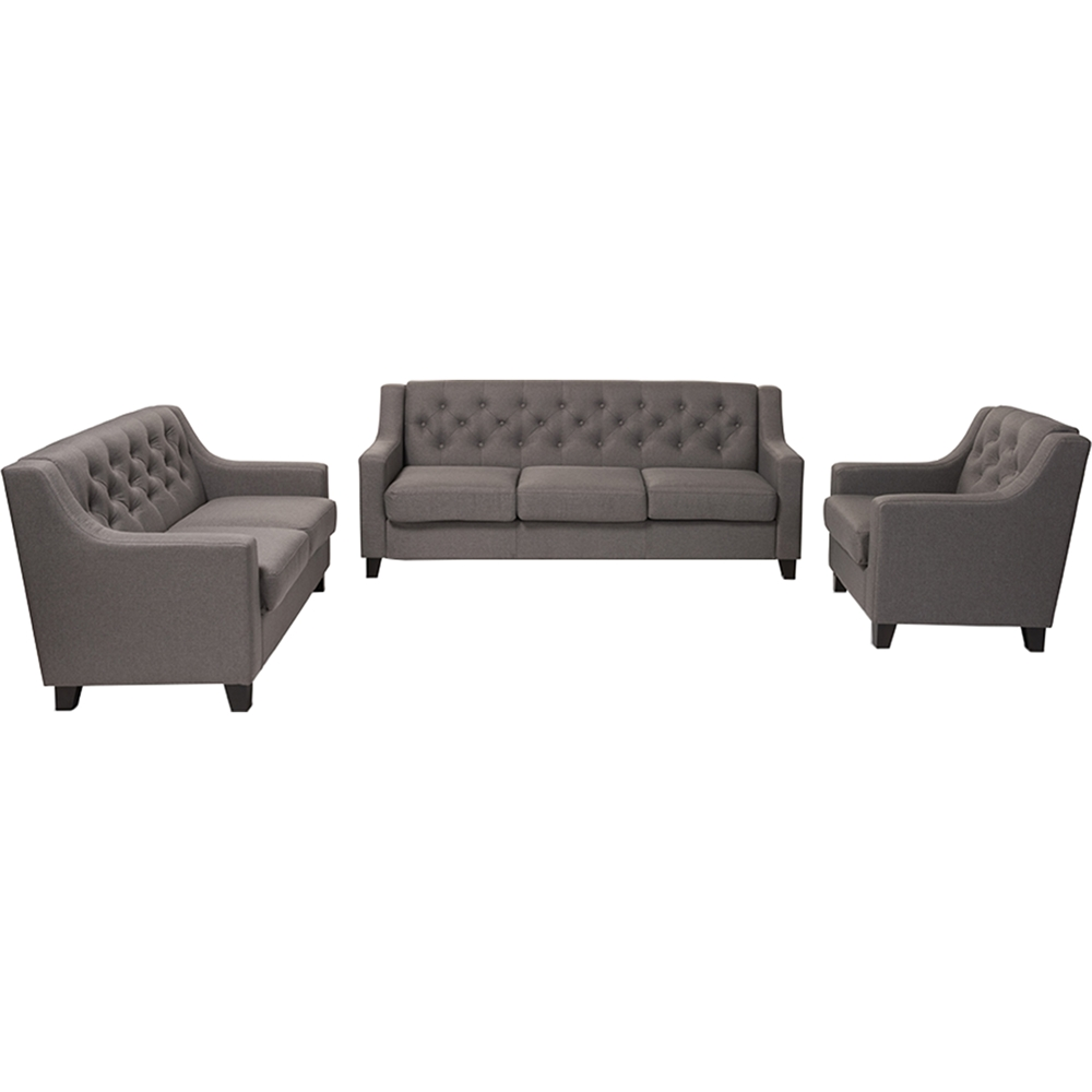 Arcadia 3 piece upholstered sofa set button tufted gray for 1 furniture way arcadia wi