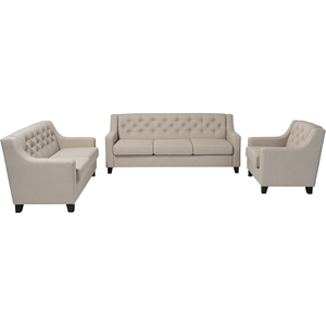 Arcadia 3-Piece Upholstered Sofa Set - Button Tufted, Light Beige