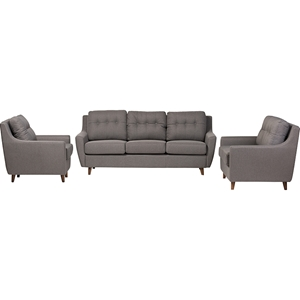 Mckenzie 3-Piece Sofa Set - Button Tufted, Gray