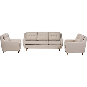 Mckenzie 3-Piece Sofa Set - Button Tufted, Light Beige