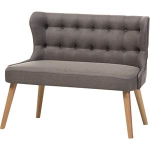 Melody Settee Loveseat - Button Tufted, Gray