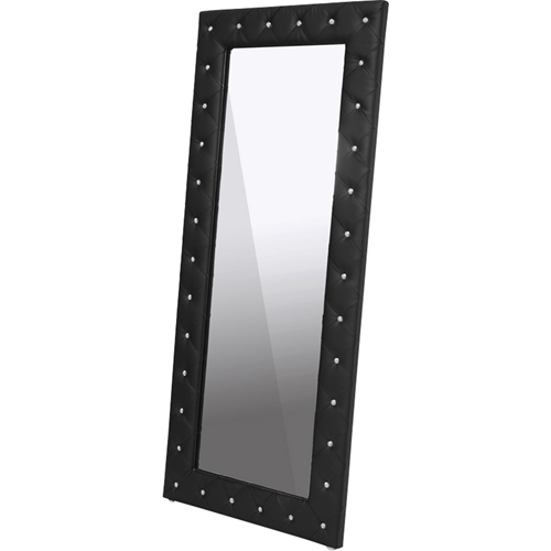 Black leather floor mirror