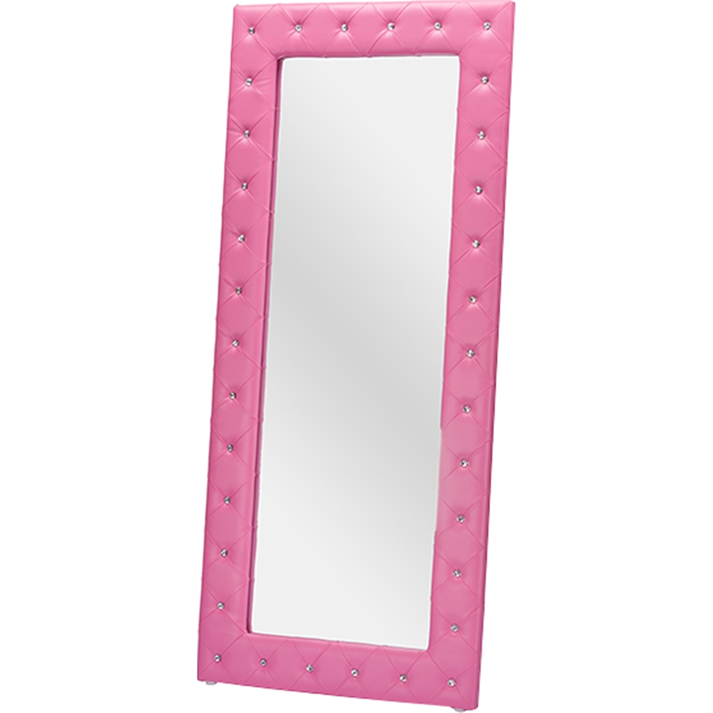 Stella Faux Leather Floor Mirror Crystal Tufted Pink