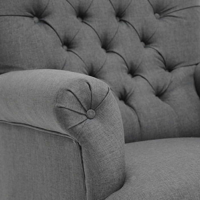 Joussard Club Chair - Button Tufts, Cabriole Front Legs, Gray Linen - WI-BH-201214-GREY-AC