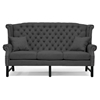 Sussex High Wingback Sofa - Nail Heads, Dark Gray Linen - WI-BH-63102-3S-GRAY