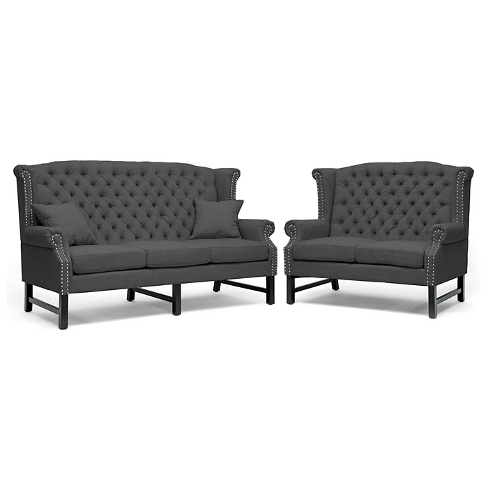 Sussex High Wingback Sofa & Loveseat - Nail Heads, Dark Gray - WI-BH-63102-LS-GREY-SOFA-SET
