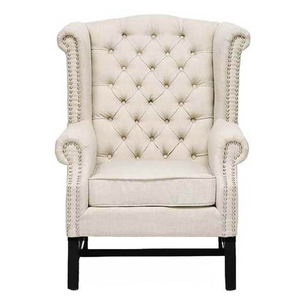 Sussex Beige Linen Club Chair (Set of 2) - WI-BH-63102