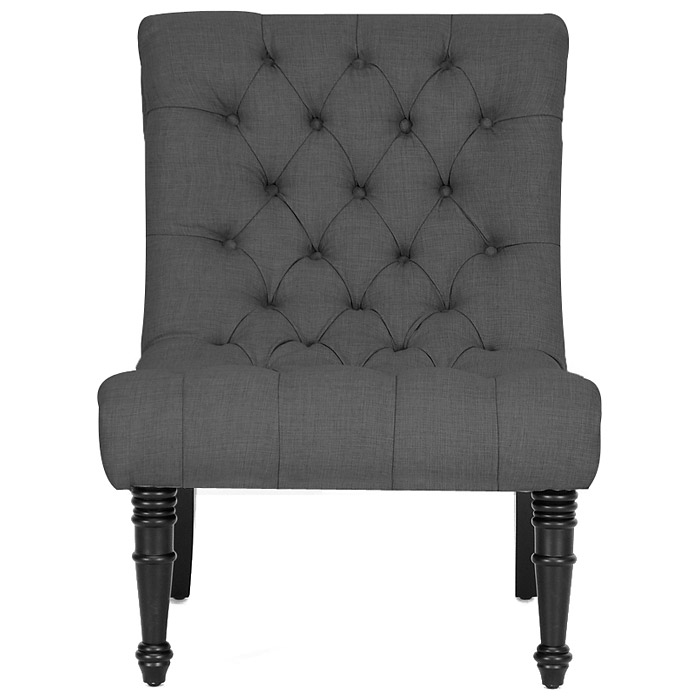 Caelie Tufted Lounge Chair - Scroll Back, Black Legs, Gray Linen - WI-BH-63109-GREY-AC
