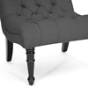 Caelie Tufted Lounge Chair - Scroll Back, Black Legs, Gray Linen - WI-BH-63109-GRAY-AC