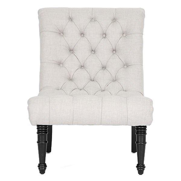 Caelie Tufted Lounge Chair - Black Legs, Beige Linen Fabric - WI-BH-63109