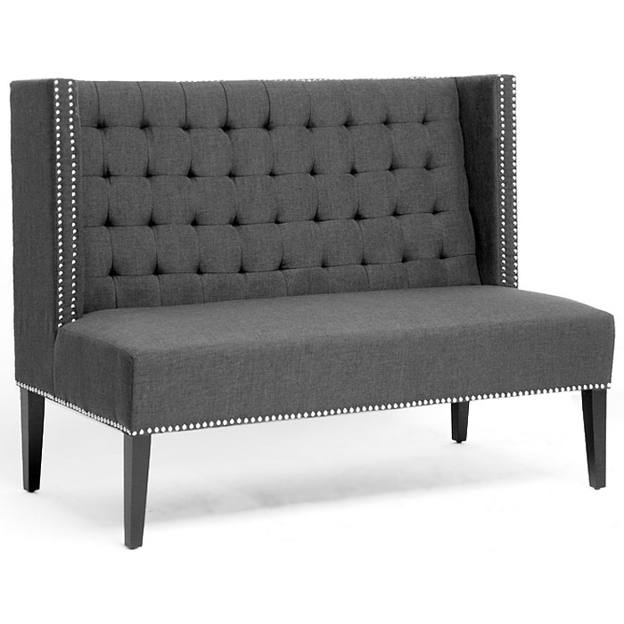 Owstynn Wingback Banquette Bench - Tufted, Gray Linen - WI-BH-63114G-GREY