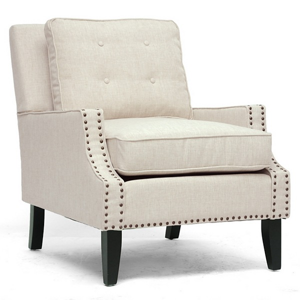 Norwich Modern Club Chair   Nail Heads, Buttons, Beige Linen   WI BH ...