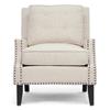 Cool Norwich Modern Club Chair Nail Heads Buttons Beige Linen Gamerscity Chair Design For Home Gamerscityorg