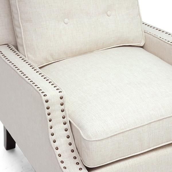 ... Norwich Modern Club Chair   Nail Heads, Buttons, Beige Linen   WI BH