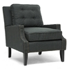 Norwich Modern Club Chair - Nail Heads, Buttons, Dark Gray Linen - WI-BH-63705-GRAY-CC