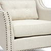 Albany Lounge Chair - Nail Heads, Kidney Pillow, Beige - WI-BH-63709-BEIGE-CC