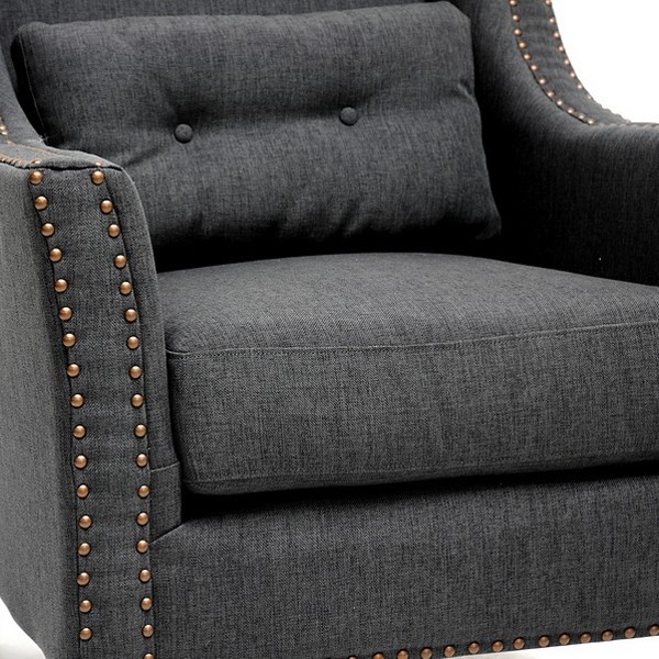 Albany Lounge Chair - Nail Heads, Kidney Pillow, Dark Gray - WI-BH-63709-GREY-CC