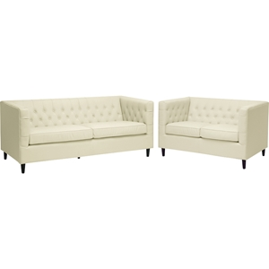 Darrow 2-Piece Leather Sofa Set - Beige