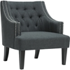 Millicent Linen Arm Chair - Nailhead, Gray - WI-BH-63901-GRAY