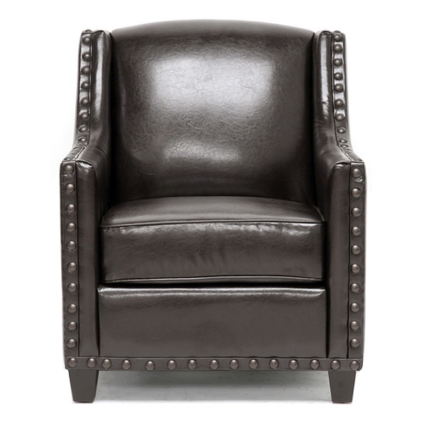 Wallace Club Chair - Large Nail Heads, Wood Legs, Dark Brown - WI-BH-8030-DARK-BROWN-AC