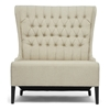 Vincent High Wingback Loveseat - Button Tufts, Beige Linen - WI-BH-A32387-BEIGE-LS