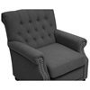 Moretti Club Chair - Button Tufts, Nail Heads, Dark Gray Linen - WI-BH201210-7028-15-GRAY-CC