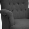 Crenshaw Club Chair - Buttons, Black Wood Feet, Dark Gray Linen - WI-BH201211-7028-15-GRAY-CC