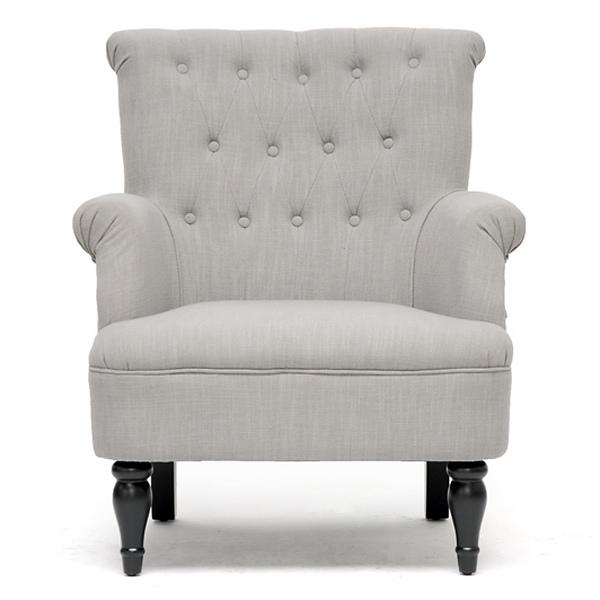 Crenshaw Club Chair Buttons Black Wood Feet Light Gray