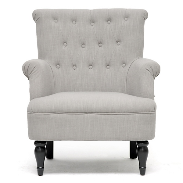 Beautiful ... Crenshaw Club Chair   Buttons, Black Wood Feet, Light Gray Linen   WI   ...