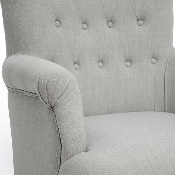 Crenshaw Club Chair - Buttons, Black Wood Feet, Light Gray Linen - WI-BH201211-7028-L003-GRAYISH-BEIGE-CC