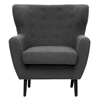 Lombardi Modern Armchair - Button Accents, Dark Gray Linen - WI-BH201212-7028-15-GRAY-CC