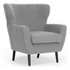 Lombardi Modern Armchair - Button Accents, Light Gray Linen - WI-BH201212-7028-L003-GRAYISH-BEIGE-CC