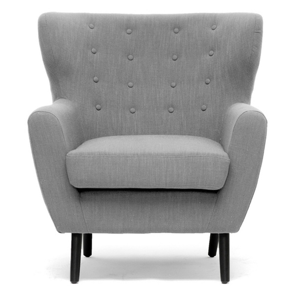 Lombardi modern armchair button accents light gray for Grey childrens chair