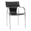 Harris Modern Dining Chair - Stackable, Chrome Steel Frame, Black - WI-BLC-133-BLACK-DC