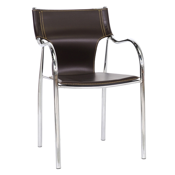Harris Modern Dining Chair - Stackable, Chrome Steel Frame, Brown - WI-BLC-133-BROWN-DC