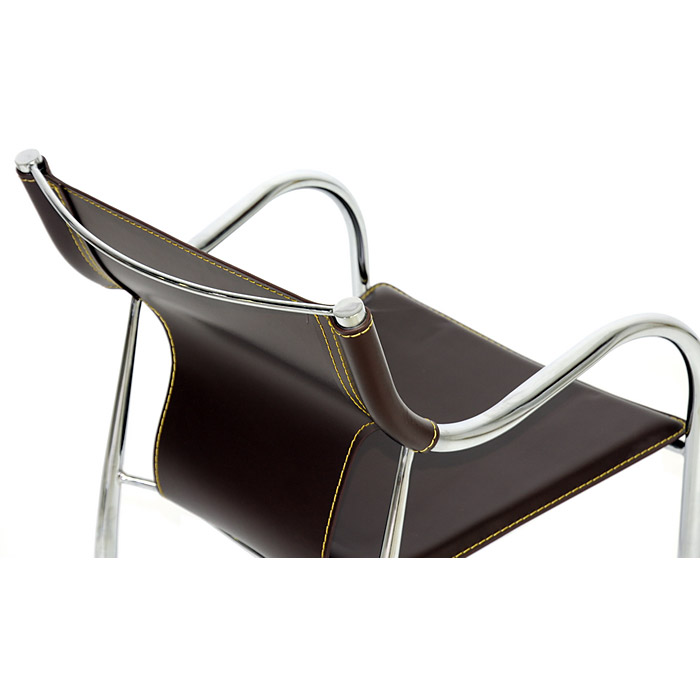 Tobago Stacking Chair Brown Chrome: Stackable, Chrome Steel Frame