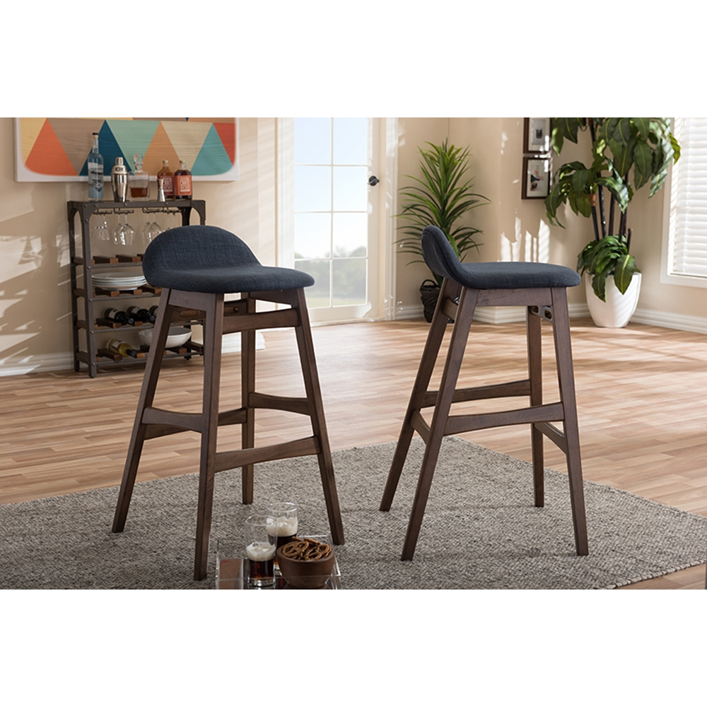 Bloom 30 Quot Bar Stool Dark Blue Walnut Set Of 2 Dcg