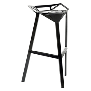 Kaysa 31.75 Modern Aluminum Bar Stool - Stackable, Black