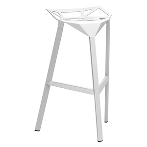 Kaysa 31.75 Modern Aluminum Bar Stool - Stackable, White