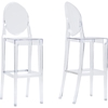 Infinity Plastic Bar Stool - Clear (Set of 2) - WI-BS-448A-CLEAR
