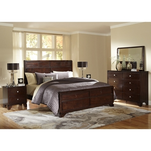 Tichenor 5-Piece Wooden Bedroom Set - Dark Brown