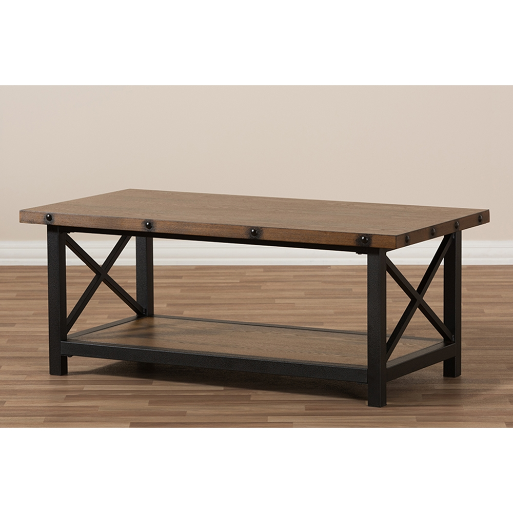 Herzen 1 shelf coffee table antique black and brown dcg stores Coffee table with shelf