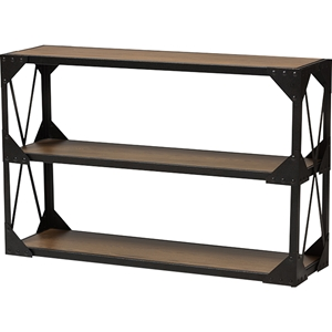 Hudson 2 Shelves Console Table - Antique Black and Brown